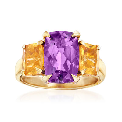 2.80 Carat Amethyst and 1.40 ct. t.w. Citrine Three-Stone Ring in 18kt Gold Over Sterling