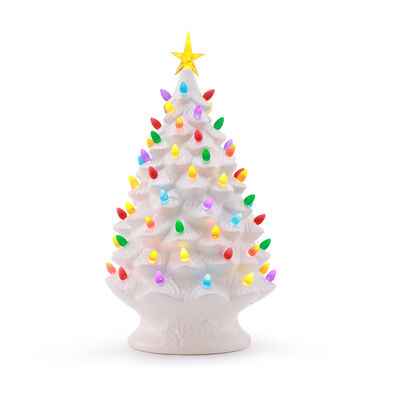 """Mr. Christmas White Nostalgic Tree with Multicolored Lights 24""""H, , default"""