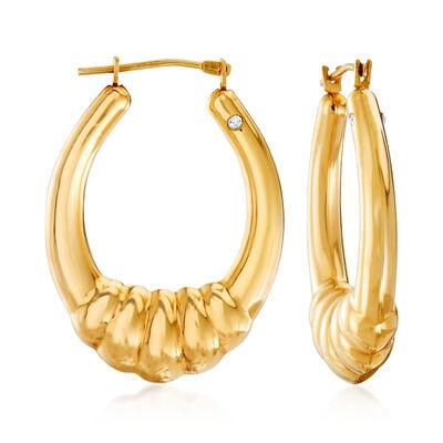 Andiamo 14kt Yellow Gold Shrimp Oval Hoop Earrings