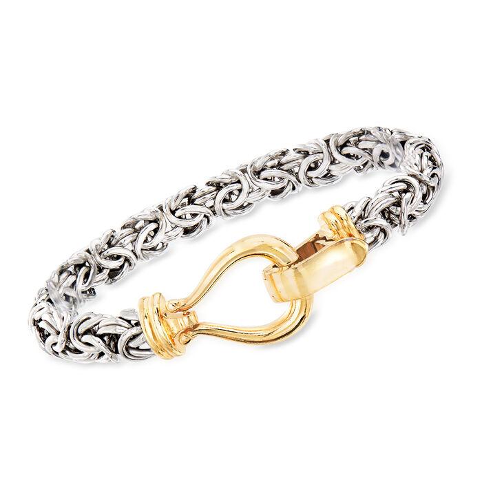 Two-Tone Sterling Silver Byzantine Bracelet, , default