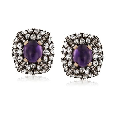 C. 1990 Vintage 7.20 ct. t.w. Amethyst and 7.40 ct. t.w. Diamond Earrings in 18kt White Gold, , default