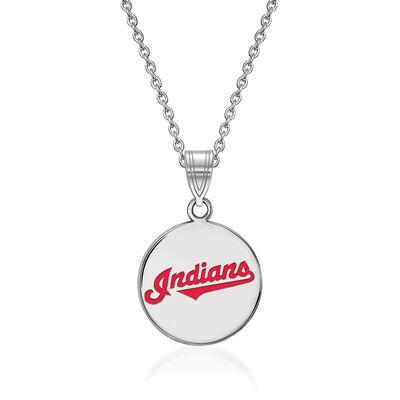 """Sterling Silver MLB Cleveland Indians Enamel Disc Pendant Necklace. 18"""", , default"""