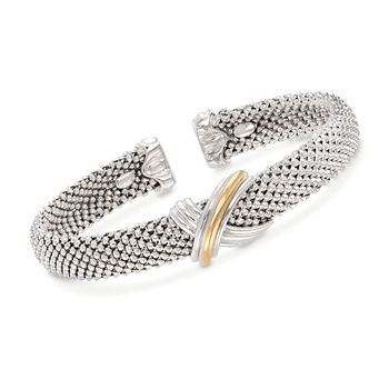"""Phillip Gavriel """"X"""" Sterling Silver and 18kt Gold Cuff Bracelet. 7"""", , default"""
