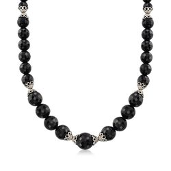 Graduated Black Onyx Bead Necklace With Sterling Silver Lacy Cap Stations, , default