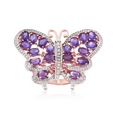 2.80 ct. t.w. Amethyst and .20 ct. t.w. Pink Tourmaline Butterfly Ring with Diamond Accents in 14kt Rose Gold, , default
