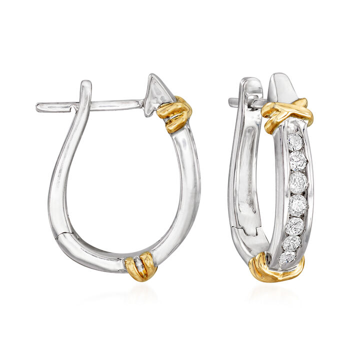 .25 ct. t.w. Diamond Hoop Earrings in Sterling Silver with 14kt Yellow Gold. 1/2""