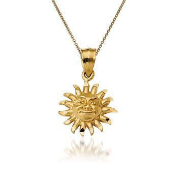 """14kt Yellow Gold Sun Pendant Necklace. 18"""", , default"""