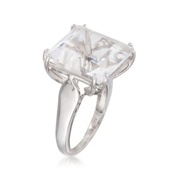 Square Rock Crystal Ring in Sterling Silver, , default