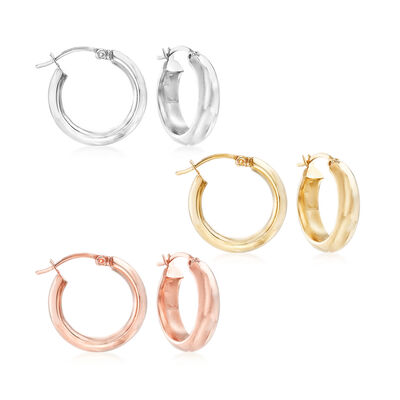 Tri-Colored Sterling Silver Jewelry Set: Three Pairs of Puffed Hoop Earrings, , default