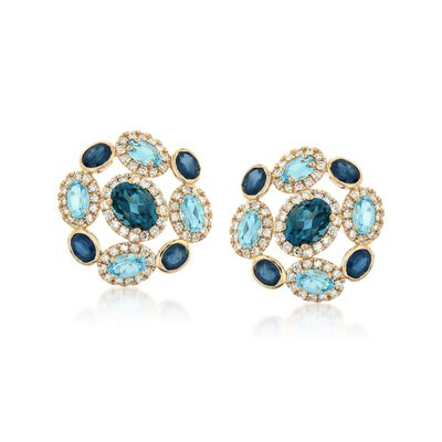 2.40 ct. t.w. Sapphire and 4.00 ct. t.w. Blue Topaz Earrings with 1.00 ct. t.w. Diamonds in 14kt Yellow Gold , , default