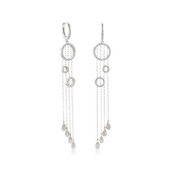 1.00 ct. t.w. Diamond Open Circle and Chain Dangle Drop Earrings in 14kt White Gold. , , default