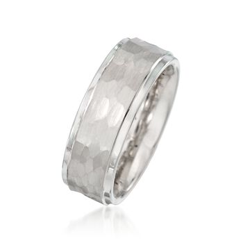 Men's 8mm White Tungsten Carbide Wedding Ring, , default