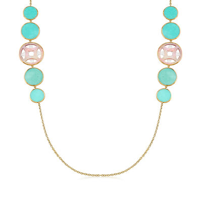 C. 2000 Vintage Ippolita Turquoise and Mother-Of-Pearl Station Necklace in 18kt Yellow Gold, , default