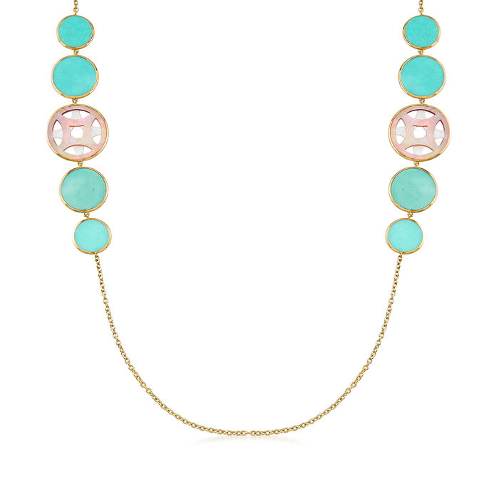 C. 2000 Vintage Ippolita Turquoise and Mother-Of-Pearl Station Necklace in 18kt Yellow Gold