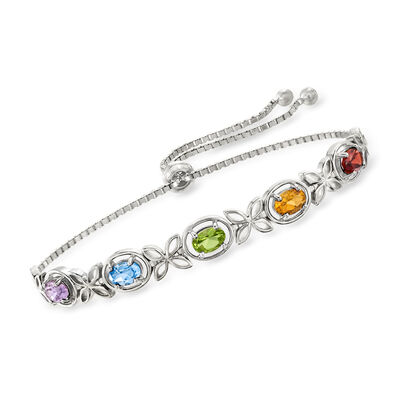 2.05 ct. t.w. Multi-Gem Bolo Bracelet in Sterling Silver