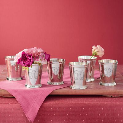 Silver Plate Personalized Mint Julep Cup Set: Buy 4 get 2 Free, , default