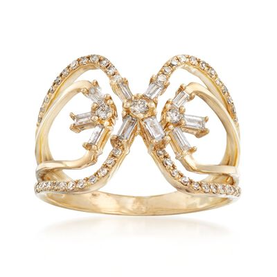 .48 ct. t.w. Diamond X Ring in 14kt Yellow Gold, , default