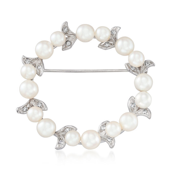 C. 1970 Vintage 4x5.5mm Cultured Pearl and .25 ct. t.w. Diamond Circle Pin in 14kt White Gold, , default