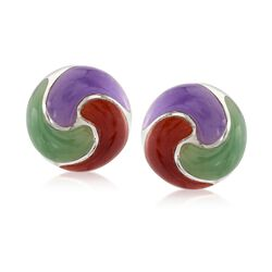 Multicolored Jade Pinwheel Earrings in Sterling Silver, , default
