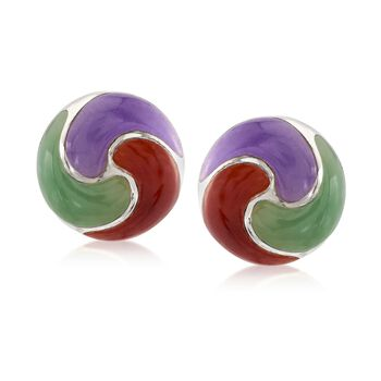 Multicolored Jade Pinwheel Earrings in Sterling Silver, , default