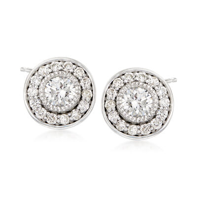 .75 ct. t.w. Diamond Halo Stud Earrings in Platinum, , default