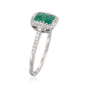 Gregg Ruth .38 ct. t.w. Emerald and .21 ct. t.w. Diamond Ring in 18kt White Gold, , default