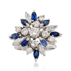 C. 1970 Vintage 1.55 ct. t.w. Diamond and .75 ct. t.w. Sapphire Floral Cluster Ring in 14kt White Gold, , default