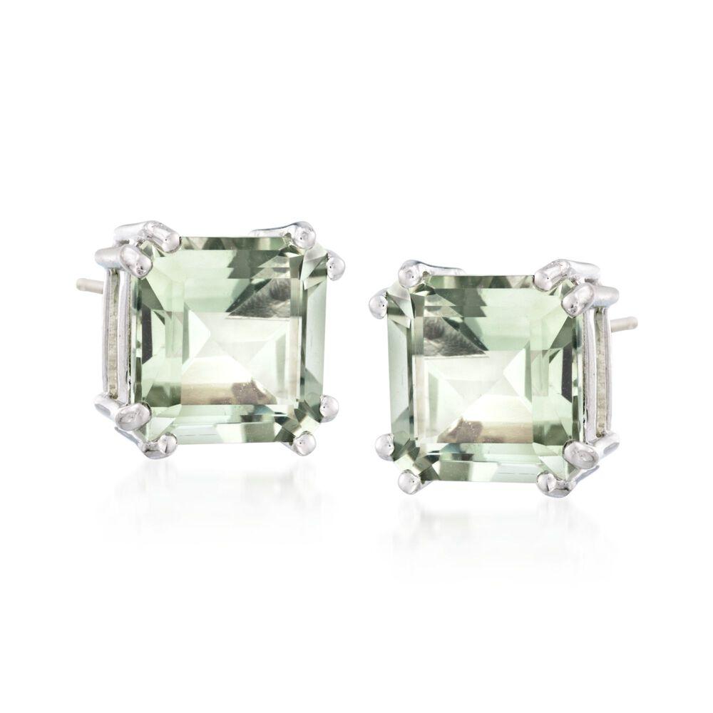T W Green Prasiolite Earrings In Sterling Silver Default
