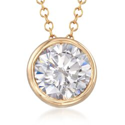 "1.00 Carat CZ Solitaire Necklace in 14kt Yellow Gold. 16"", , default"
