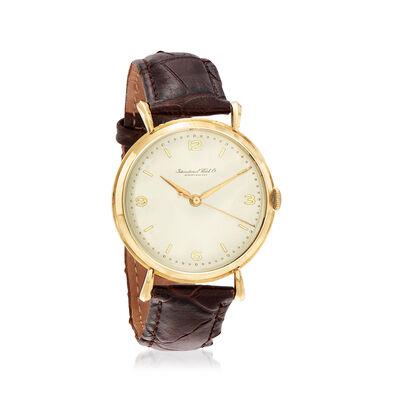 C. 1950 Vintage Schaffhausen 36mm 18kt Yellow Gold Men's Watch with Leather Strap, , default