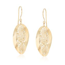 Italian 18kt Yellow Gold Floral Openwork Oval Drop Earrings , , default