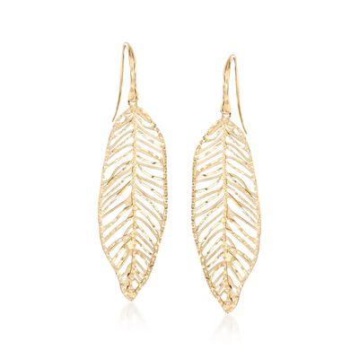 14kt Yellow Gold Leaf Drop Earrings, , default