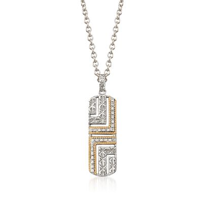 "Andrea Candela ""Laberinto"" .14 ct. t.w. Diamond Drop Necklace in 18kt Gold and Sterling Silver, , default"