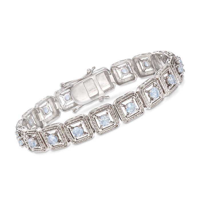 "3.70 ct. t.w. Aquamarine Bracelet in Sterling Silver. 7.5"", , default"