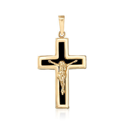 Black Onyx Crucifix Pendant in 14kt Yellow Gold