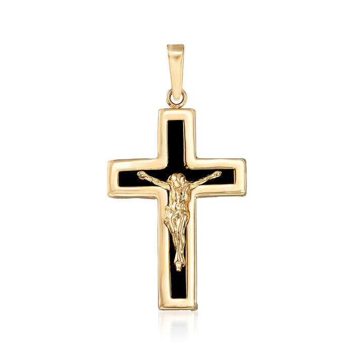 Black Onyx Crucifix Pendant in 14kt Yellow Gold