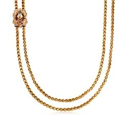 "C. 1910 Vintage 14kt Yellow Gold Pocket Watch Holder Slide Necklace With Seed Pearls. 57"", , default"
