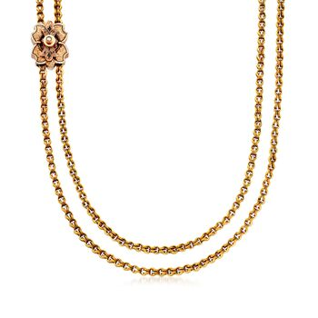 """C. 1910 Vintage 14kt Yellow Gold Pocket Watch Holder Slide Necklace With Seed Pearls. 57"""", , default"""