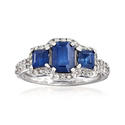 2.00 ct. t.w. Sapphire and .38 ct. t.w. Diamond Ring in 14kt White Gold