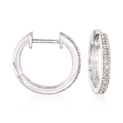 Sterling Silver Small Hoop Earrings with Diamond Accents, , default
