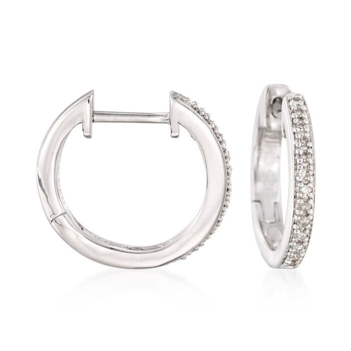 Sterling Silver Small Hoop Earrings with Diamond Accents. 1/2""