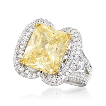 7.75 ct. t.w. Yellow and White CZ Ring in Sterling Silver, , default
