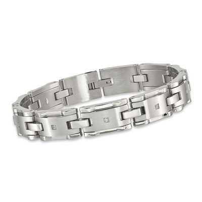 Men's .13 ct. t.w. CZ Brushed Link Bracelet in Stainless Steel. 8.5""