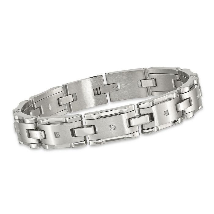 "Men's .13 ct. t.w. CZ Brushed Link Bracelet in Stainless Steel. 8.5"", , default"