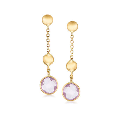 Italian 2.00 ct. t.w. Amethyst Drop Earrings in 14kt Yellow Gold, , default