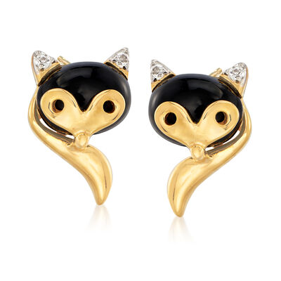Onyx Fox Earrings in 18kt Gold Over Sterling