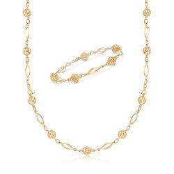 C. 1970 Vintage 18kt Yellow Gold Bead Convertible Necklace/Bracelet, , default