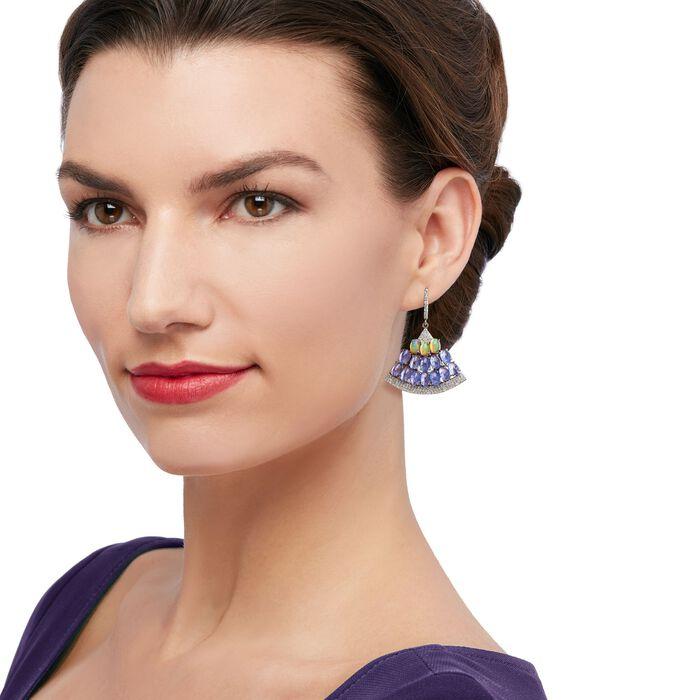 14.00 ct. t.w. Tanzanite and 1.70 ct. t.w. White Zircon Fan Drop Earrings with Opals in Sterling Silver