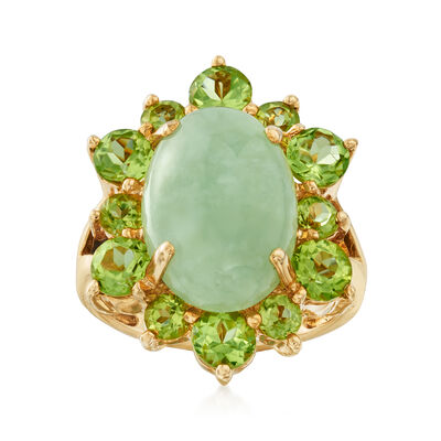 C. 1980 Vintage Aventurine and 1.80 ct. t.w. Peridot Ring in 14kt Yellow Gold, , default