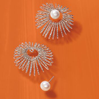 Italian Sterling Silver Jewelry Set: 8-8.5mm Cultured Pearl Earrings and Starburst Earring Jackets, , default